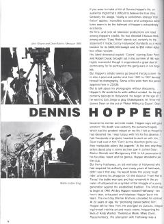 Dennis HopperThe Photography of Dennis HopperBy Christine Larrain-LombardZoom Magazine, October, 1989Dennis HopperThe Photography of Dennis HopperBy Christine Larrain-LombardZoom Magazine, October, 1989