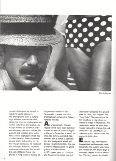 Dennis HopperThe Photography of Dennis HopperBy Christine Larrain-LombardZoom Magazine, October, 1989